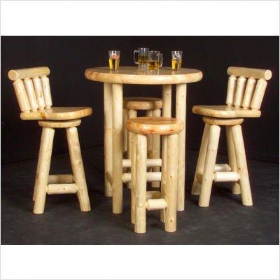 Log Pub Table Set Finish: Honey Pine