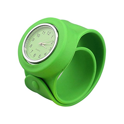 Nicerocker Multicolor Silicone Bracelet Watchband Sport Watch (Silicone Green)