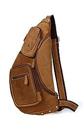 Men\'s Chest Pack Crossbody Bag Vintage Leather Shoulder Sling Bag Rucksack
