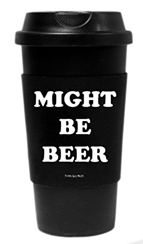 Funny Guy Mugs Might Be Beer Travel Tumbler With Removable Insulated Silicone Sleeve, Black, 16-Ounce (Beer Can Coffee Mug compare prices)