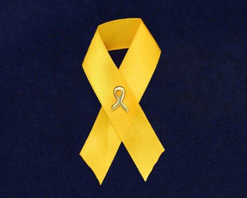 Gold Ribbon Fabric Pin (100 Pins)