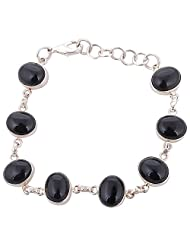 Oxodised Silver Bracelet With Black Onyx Beads - B00RMPN1RU