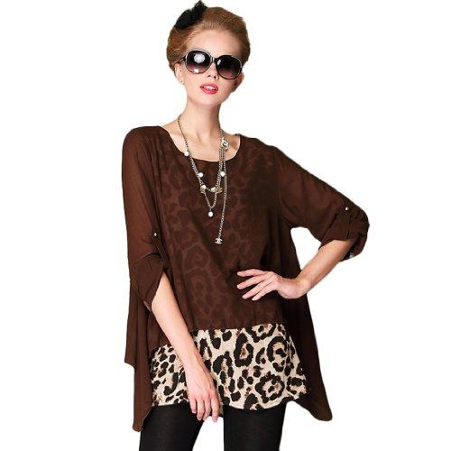 Wantdo Women Spring New Style Long Plus Size Dress L0045Q-1 Coffee