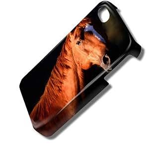 Chevaux 10007, Cheval Brun, 3D Design Coque Arriere Rigide Coquille Housse Case Cover Couverture avec Dessin Coloré pour Apple iPhone 4 4S.