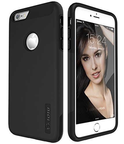 TOTU iPhone 6S Plus Case, Scratch Resistant Thin Armor Dual Layer Protective Hybrid Case Shock Absorbing Technology Case for Apple iPhone 6 plus (2014) and iPhone 6S Plus (2015) - Obsidian Black