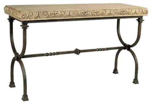 Image of Chateau Rectangular Iron Console Table w/ Carved Leaf Stone Top (B000TXVBQA)