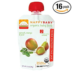 Happy Baby Organic Baby Food 2 Simple Combos, 3.5 Ounce Pouches (Pack of 16)