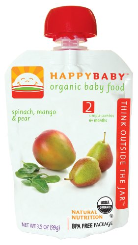 Happy Baby Organic Baby Food 2 Simple Combos, Spinach, Mango and Pear, 3.5-Ounce Pouches (Pack of 16)