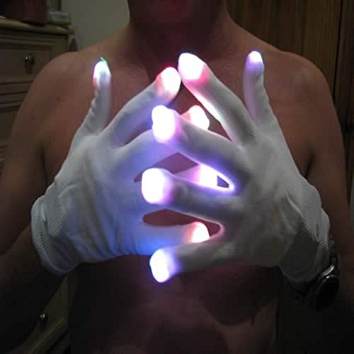 Colour Changing Led Flashing Gloves For Festivals, One Size