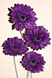 4x artificial gerberas cadbury purple flowers