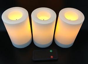 flammenlose led kerzen 3er set weiss h he. Black Bedroom Furniture Sets. Home Design Ideas