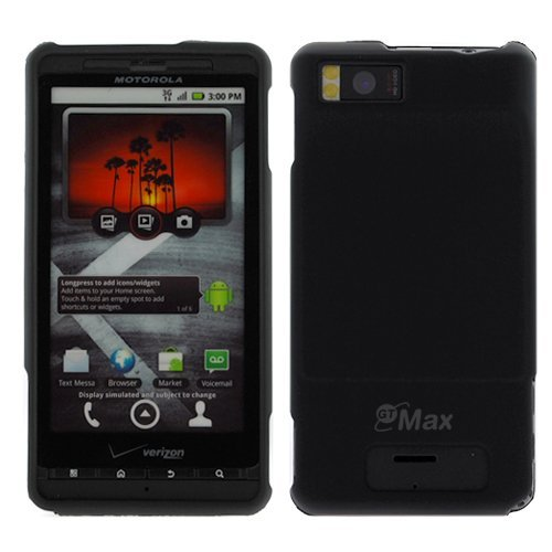 GTMax Black Rubber Hard Snap On Crystal Cover Case for Verizon Motorola Droid X CDMA Cell Phone