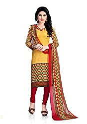 Nazaquat Yellow Printed Crepe Unstitched Dress Material