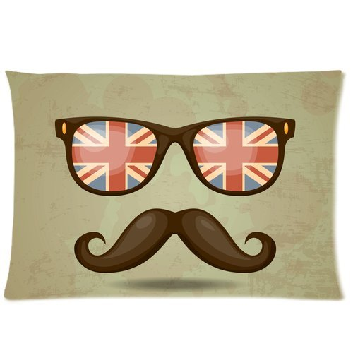 Yestore Custom Cotton Mustache Queen Size (20X30) 300 Thread Count Pillow Cases