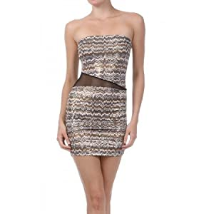 STRAPLESS METALLIC GOLD MINI DRESS WITH MESH INCUTS | Fashion Junkie | Gold | M