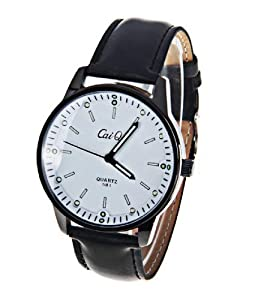 CaiQi Unisex Watch White Dial Black Leather Band Wrist Watch 581