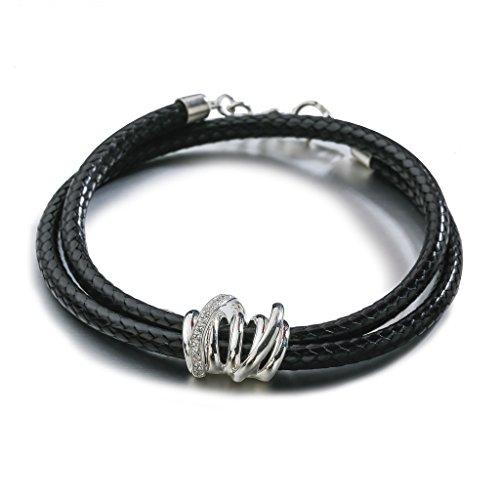 SILVERAGE Sterling Silver Black Leather Wrap Bracelet