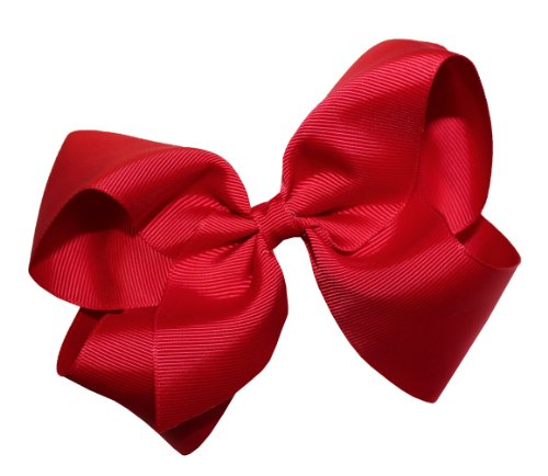 Webb Direct 2U Girls Xl Grosgrain Wrapped Bow French Clip Red (2092Fc) front-549332