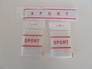 Stirnband-Handgelenkbänder-Set RETRO Schweissband Handgelenkband Armband Stirnschweissband Fitnis NEU Schweißband Sportschweißband Fitnisband Frotte WEISS