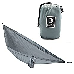 Single Person Adventure Hammock made of Rip-stop Nylon by Tribe Provisions - Includes carabiners and lashing cables Grey
