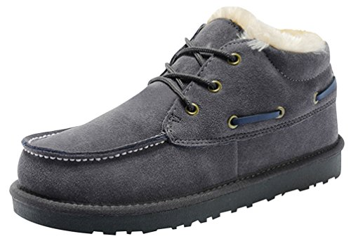 Rock Me Fluff Knitting Lace Up Men Ankle Snow Boots Baken II(8 D(M) US, Grey)