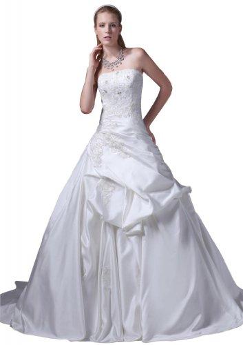 GEORGE BRIDE Strapless Beaded Bodice Satin Court Train Wedding Dress Size 12 White