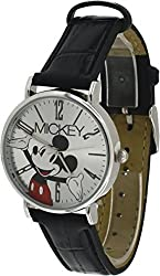 Disney #MCK493 Mickey Mouse Black Leather Watch