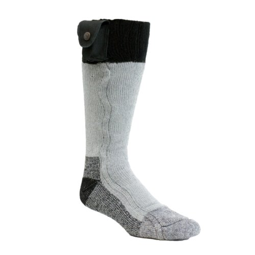 ... Style Lectra Sox, Battery Heated Wool Blend Socks, Gray/Black, Large
