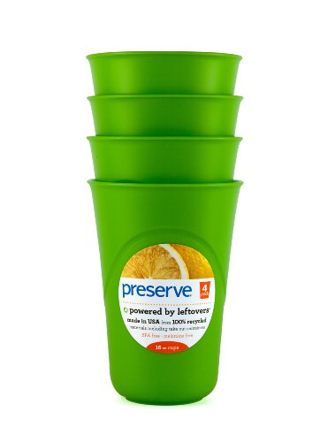 Preserve Everyday 16-Ounce Cups, Set of 4, Apple Green