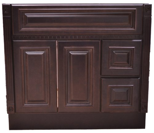 30 Inch All Wood Heritage Espresso Bathroom Vanity Two Drawers Cabinet Drawers on Left or Right