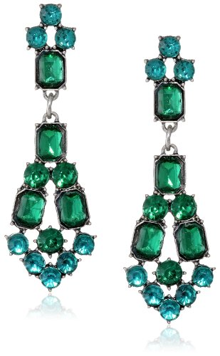 All Stone Deco Silver And Emerald And Teal Earrings