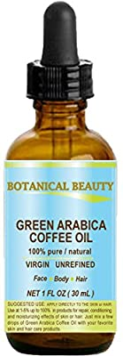 GREEN ARABICA COFFEE OIL Brazilian. 1 Fl.oz- 30 ml. 100% Pure / Premium Quality. For Skin, Hair, Lip and Nail Care. Wrinkle Reducer, Skin Lift /Tone, Anti- Puffiness / Dark Circles, Anti Cellulite.
