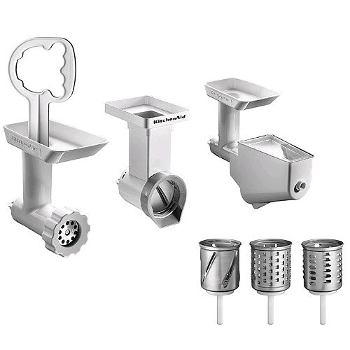 KitchenAid FPPC Mixer Attachment Pack; Grinder/ Mincer, Slicer/ Shredder, Fruit & Vegetable Strainer