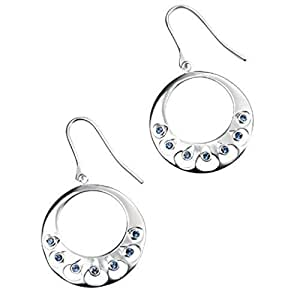 Cut Out Disc Hoop Earrings with Blue Swarovski Crystal by Elements Silver