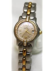 Bertolucci Watches Bertolucci Mini Vir Steel and 18k Gold Diamond Bezel and Lugs Date Swiss Women's Watch