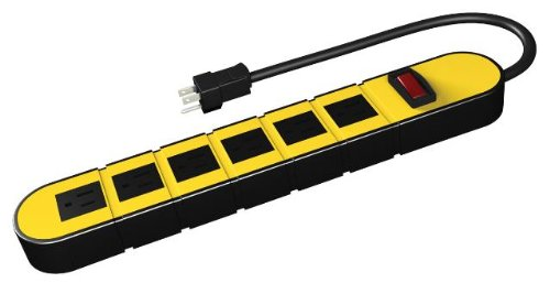 Stanley 31605 6-Outlet Metal Power Block with 3-Foot Cord, Yellow