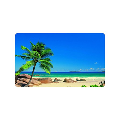 Tropical Paradise Beach with Palm Trees Custom Doormat Entrance Mat Floor Mat Rug Indoor/Outdoor/Front Door/Bathroom Mats Rubber Non Slip Size 30 x 18 inches (Tropical Outdoor Clock compare prices)