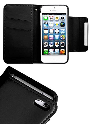 Mylife Panther Black {Smooth Chic Design} Textured Koskin Faux Leather (Card And Id Holder + Magnetic Detachable Closing) Slim Wallet For Iphone 5/5S (5G) 5Th Generation Smartphone By Apple (External Rugged Synthetic Leather With Magnetic Clip + Internal