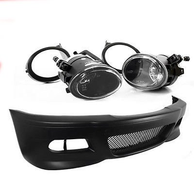 99-06 BMW E46 3-Series M3 Style Front Bumper w/ Clear Fog Lights + Covers (E46 Front Bumper compare prices)