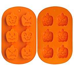 Ozera 6 Cavity Pumpkin Faces Silicone Non Stick Cake Bread Baking Mold (2 Pack), Muffin Cups Biscuit Chocolate Jelly Candy Maker Mold, Handmade Soap Mold Ice Cube Tray, Orange