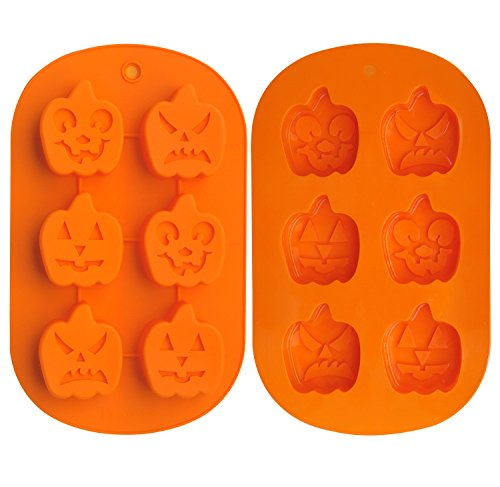 Ozera 6 Cavity Pumpkin Faces Silicone Non Stick Cake Bread Baking Mold Muffin Cups Biscuit Chocolate Jelly Candy Maker Mold, Handmade Soap Mold Ice Cube Tray, Set of 2, Orange