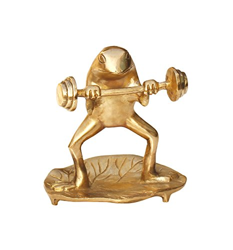 Special-Offer-Brass-Items-Frog-Decor-Brass-Animal-Statue-Frog-Statue-Doing-a-Power-Work-Out-on-a-Leaf-Collectable-Figurine-Sculpture-5-Inch