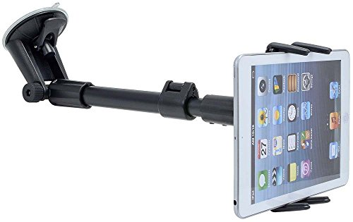 Car Mount, Premium Adjustable Arm Extension Windshield Suction Car Mount for Apple iPad Mini, Apple iPhone 6S 6 Plus 5 and SE Devices w/ swivel Cradle Holder (use with or without case)