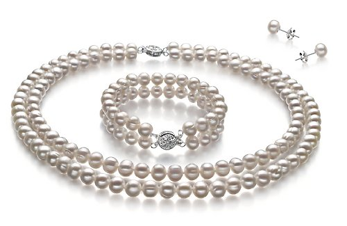 PearlsOnly White 6-7mm A Cultured Freshwater Pearl Set
