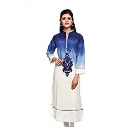 Saamarth Impex Women Cotton Blue Color Embroidery Work V neck Long Straight Style Kurti SI-2892