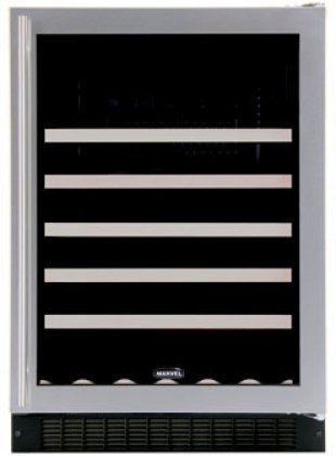 Marvel 61Wcm-Bs-G-R 24-Inch Wide Under Counter Wine Cellar Black Cabinet Glass And Stainless Steel Door