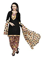 Galaxy Women's Black Printed Poly-Cotton Dress Material (Free Size_Black)