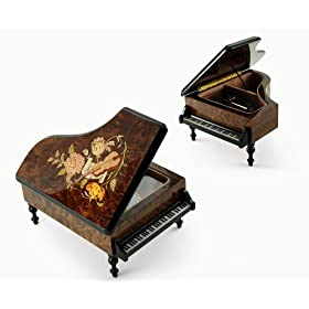 Burl-Elm Music and Floral Theme Grand Piano Music Box