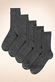 5 Pairs of Freshfeet&#8482; Cotton Rich Ribbed School Socks