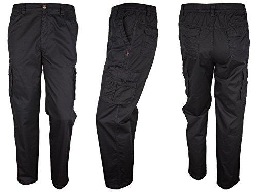 SOUNON® Herren Cargohose, Cargo Pants aus 100 % Baumwolle - Schwarz, Groesse: M